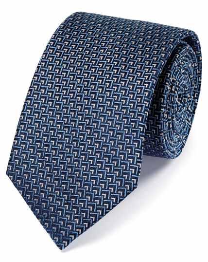 Cravate classique bleue et blanche en soie à imprimé géométrique triangles