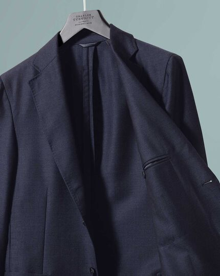 Slim fit navy Italian wool mohair silk luxury blazer