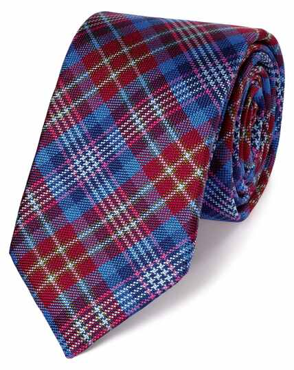 Red silk check English luxury tie