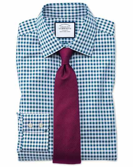 Bügelfreies Classic Fit Hemd in Blaugrün mit Gingham-Karos