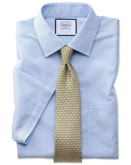 Chemise bleu ciel coupe droite sans repassage à rayures Bengale et manches courtes