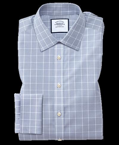 Bügelfreies Classic Fit Hemd mit Prince-of-Wales-Karos in Grau