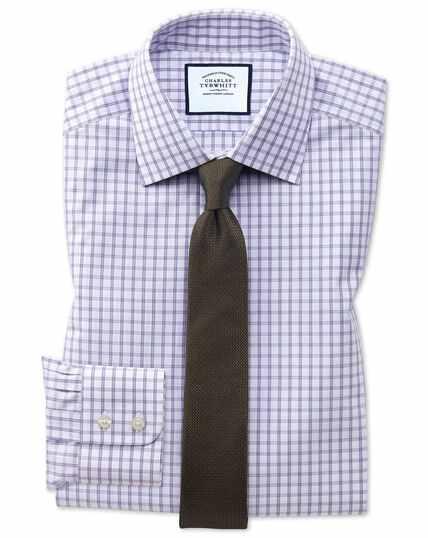 Extra slim fit purple windowpane check shirt