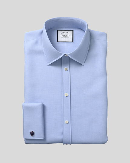 Classic Collar Egyptian Cotton Lattice Weave Shirt - Blue
