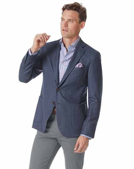 Slim fit blue puppytooth Italian wool flannel blazer
