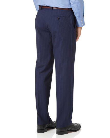 Classic Fit Businessanzug-Hose aus Panama-Gewebe mit Streifen in Marineblau