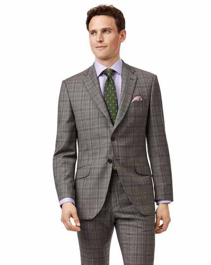 Grey and lilac Prince of Wales check slim fit Italian suit jacket