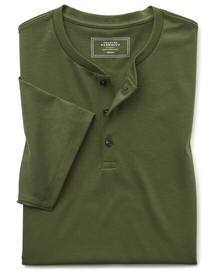 Olive short sleeve Henley t-shirt