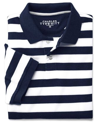 Navy and white stripe melange pique polo