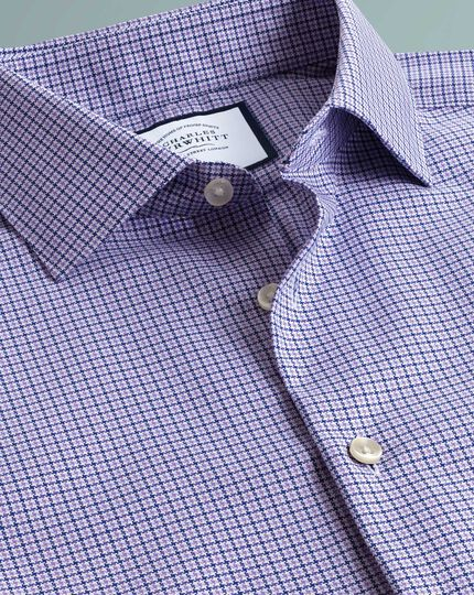 Extra slim fit business casual non-iron puppytooth modern texture lilac shirt