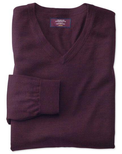 Wine v-neck merino-silk sweater