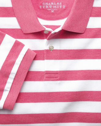 Piqué-Poloshirt in Dunkelrosa Streifen