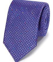Lilac geometric silk English luxury tie