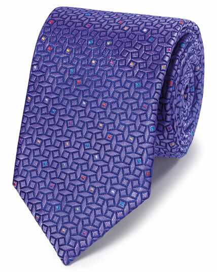 Lilac geometric silk English luxury tie