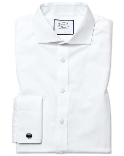 Extra slim fit white non-iron poplin cutaway collar shirt