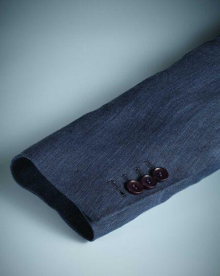 Slim fit mid blue Italian linen jacket