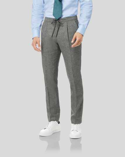 Wool Cotton Linen Suit Drawstring Pants - Grey