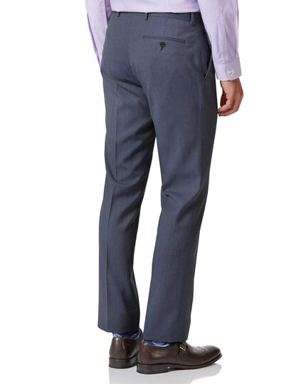 Light blue slim fit herringbone business suit pants