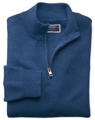 Blue pima cotton textured zip neck jumper