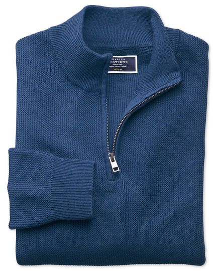 Blue pima cotton textured zip neck jumper