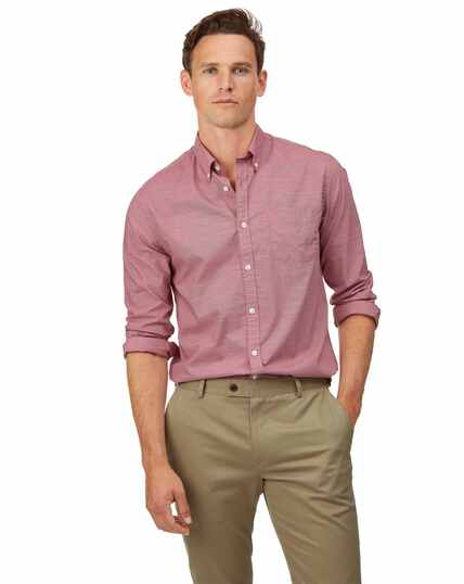 Extra slim fit soft washed stretch poplin red shirt