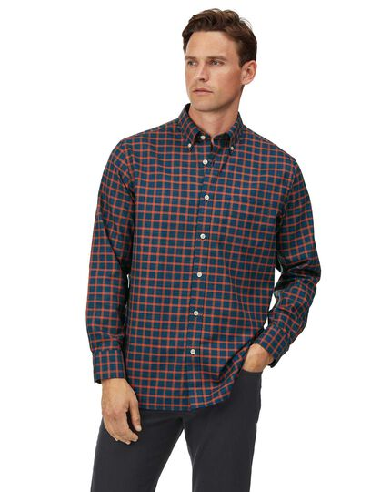 Classic fit soft washed non-iron twill navy and orange windowpane check shirt