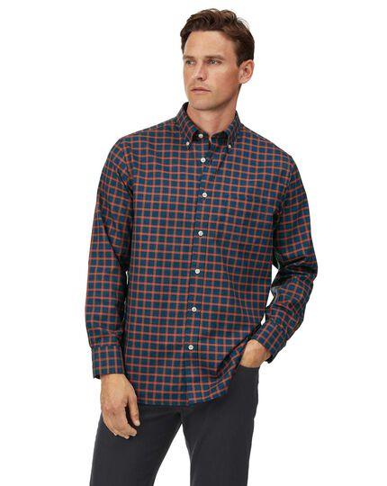 Chemise en twill soft washed bleu marine et orange à carreaux coupe droite sans repassage