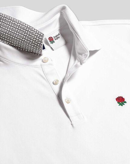 Piqué-Polo mit England Rugby-Motiv – Weiß