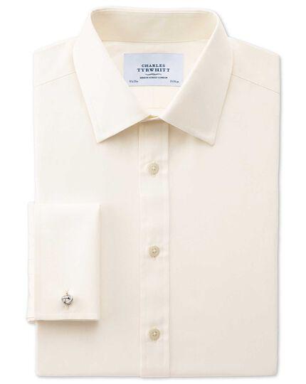 Slim fit end-on-end cream shirt
