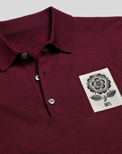 LIMITED EDITION England Rugby Merino Polo Jumper - Burgundy