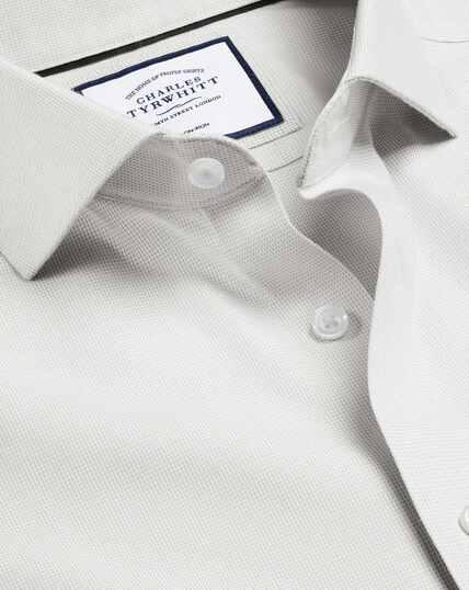 Bügelfreies Hemd in Ludgate-Webart mit Haifischkragen - Grau