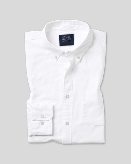 Extra slim fit white button-down washed Oxford plain shirt