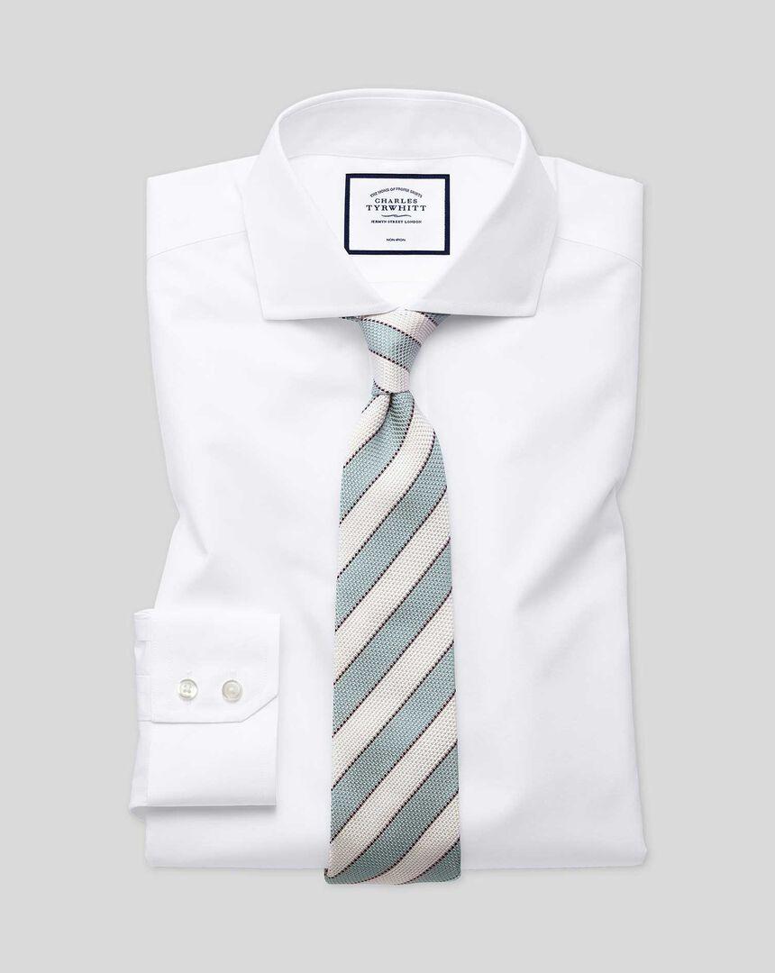 Bügelfreies Tyrwhitt Cool Popeline-Hemd mit Haifischkragen - Weiß
