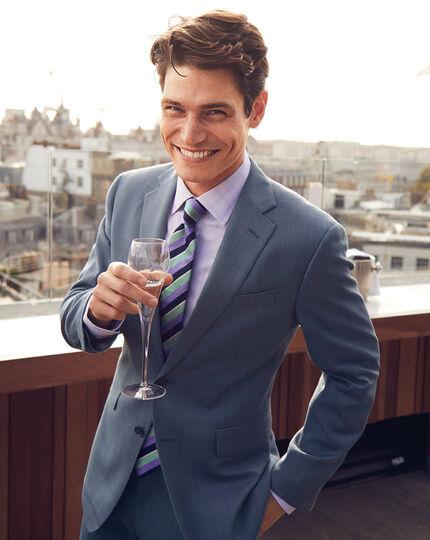 Textured Suit Jacket - Light Blue