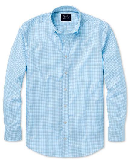 Chemise bleu ciel en tissu stretch extra slim fit à carreaux vichy à délavage doux sans repassage