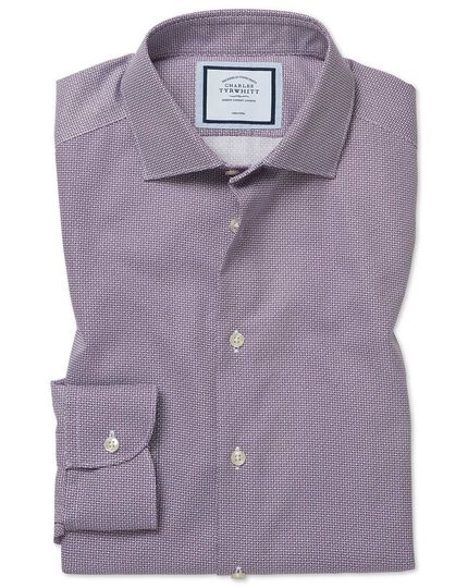 Extra slim fit non-iron spot print purple shirt