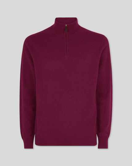 Berry cashmere zip neck jumper