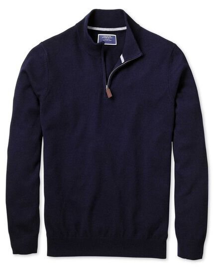 Navy zip neck pure cashmere jumper