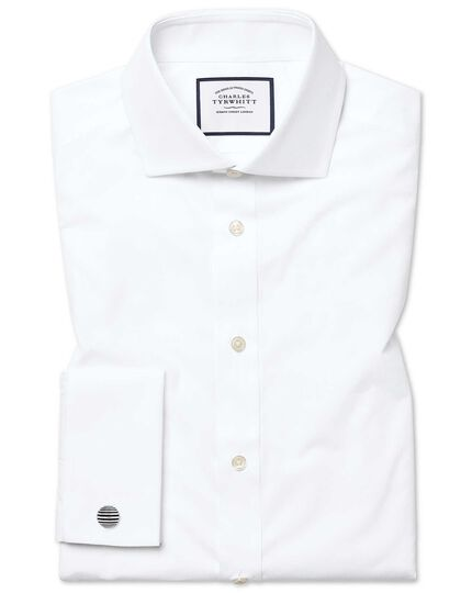 Slim fit spread collar Egyptian cotton poplin white shirt