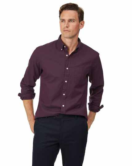 Slim fit button-down washed Oxford berry shirt
