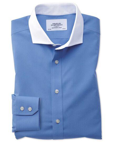 Bügelfreies Slim Fit Winchester Hemd mit Haifischkragen in Blau