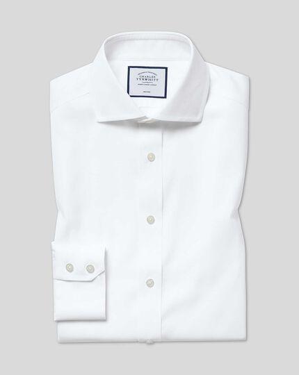 Slim fit cutaway non-iron cotton stretch Oxford white shirt