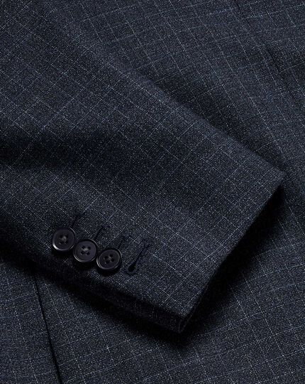 Grid Check Suit Jacket - Blue