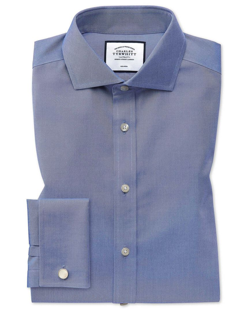 Extra slim fit mid-blue non-iron twill spread collar shirt
