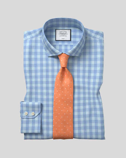 Cutaway Collar Non-Iron Tyrwhitt Cool Poplin Check Shirt - Sky