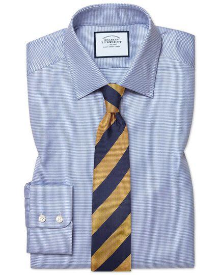 Classic Fit Hemd aus ägyptischer Baumwolle mit Chevron-Muster in Himmelblau