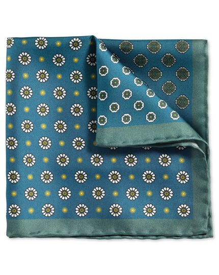 Blue classic printed medallion quarter pocket square