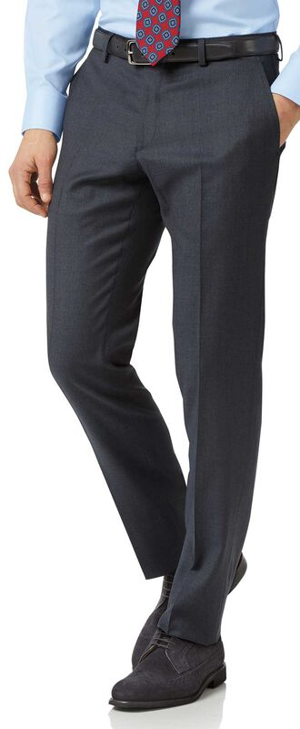 Steel blue slim fit twill business suit trousers