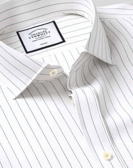 Spread Collar Non-Iron Cotton Stretch Oxford Fine Stripe Shirt - Green