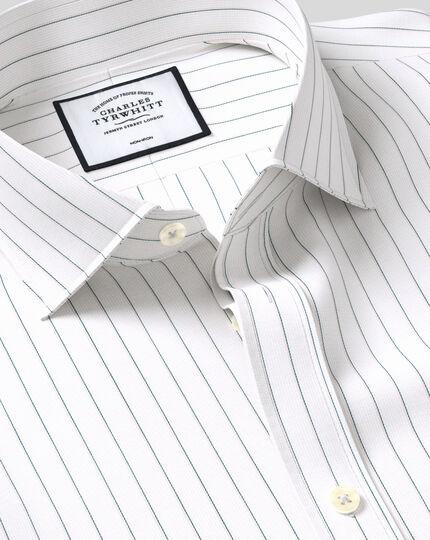 Cutaway Collar Non-Iron Cotton Stretch Oxford Fine Stripe Shirt - Green